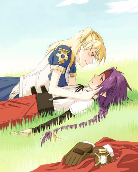 Tags: Anime, Hoshiaka, Chrno Crusade, Rosette Christopher, Chrno, Grass Field, Hand in Hair