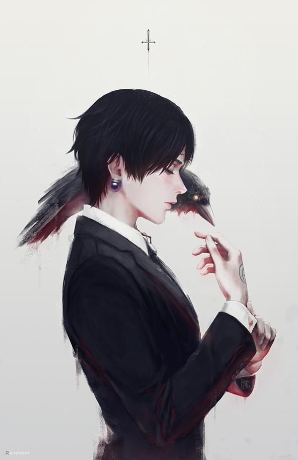 Tags: Anime, RainNoir, Hunter x Hunter, Chrollo Lucilfer, Bird on Shoulder, Mobile Wallpaper, Pixiv, Fanart, Fanart From Pixiv
