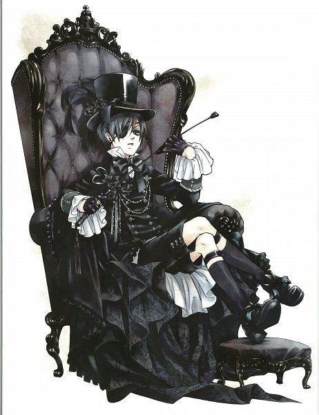 Tags: Anime, Toboso Yana, Kuroshitsuji, Black Butler Artworks 1, Ciel Phantomhive, Armchair, Gothic Outfit