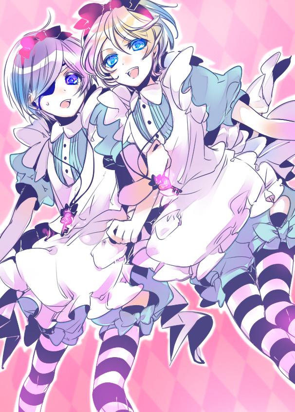 Tags: Anime, Yamada Ako, Kuroshitsuji, Ciel in Wonderland, Alois Trancy, Ciel Phantomhive, Fanart, Mobile Wallpaper