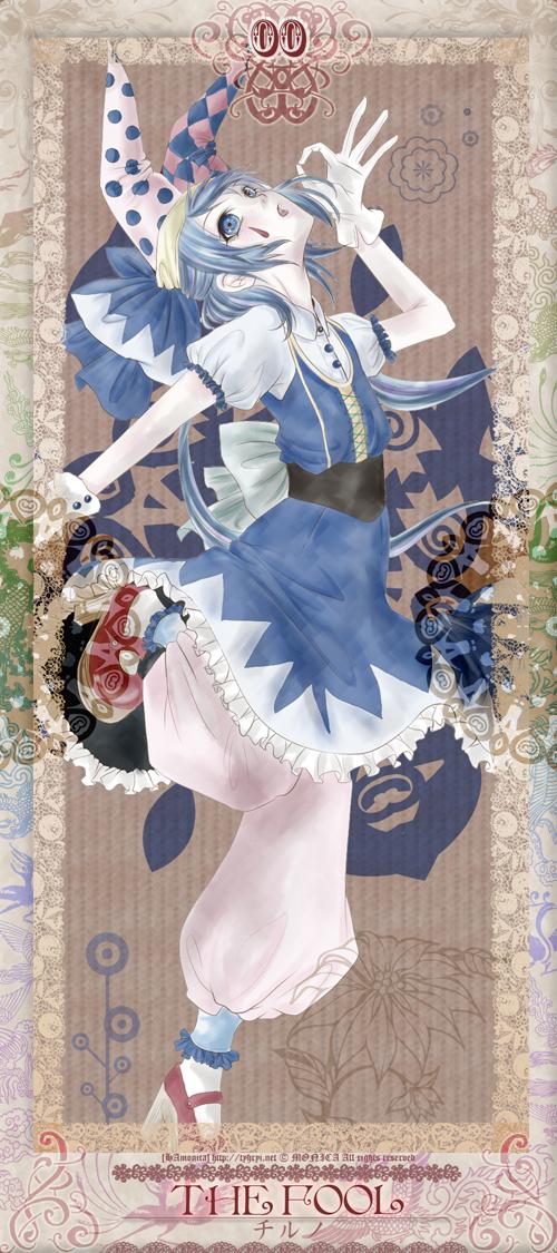 Tags: Anime, Monicanico, Touhou, Cirno, Tarot Cards, Clown, The Fool, Jester Hat, Mo2ica's Touhou Tarot, Pixiv