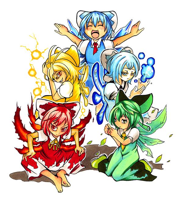 Tags: Anime, Pixiv Id 398516, Touhou, Cirno, Hapa Cirno, Mizu Cirno, Ikazu Cirno, Achi Cirno, Fire Wings, Pixiv, Fanart, Fanart From Pixiv