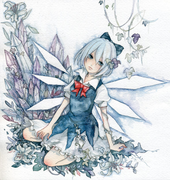 Tags: Anime, Pinkxxxna, Touhou, Cirno, Watercolor, Traditional Media