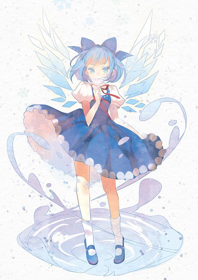 Tags: Anime, Domotolain, Touhou, Cirno, Colored Eyelashes, Pixiv, Mobile Wallpaper