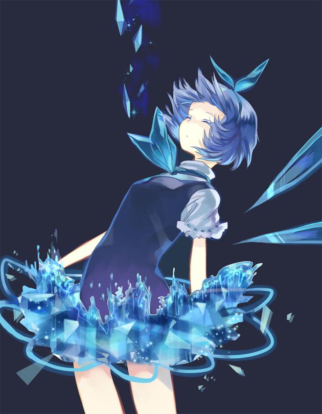 Tags: Anime, Nove (Artist), Touhou, Cirno, Colored Eyelashes, Arched Back, Pixiv, Fanart