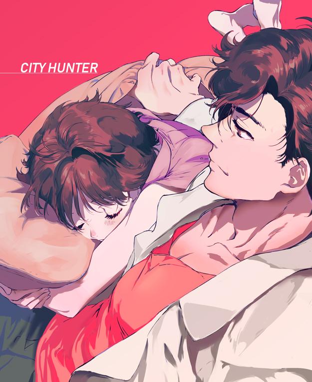 Tags: Anime, Yaku (Pixiv2585771), City Hunter, Ryo Saeba, Makimura Kaori, Pixiv, Fanart From Pixiv, Fanart