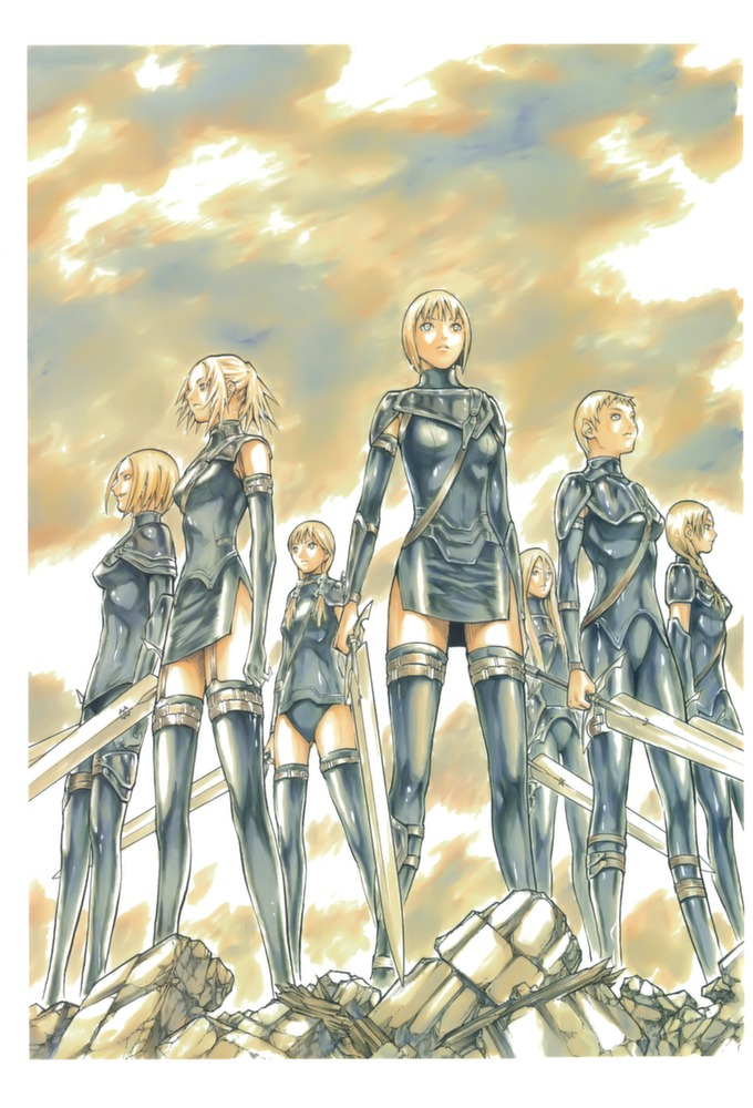 Tags: Anime, Claymore, Helen, Tabitha (Claymore), Cynthia (Claymore), Miria (Claymore), Yuma (Claymore), Clare, Deneve, Mobile Wallpaper, Manga Cover, Official Art, Scan
