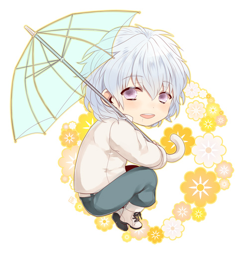 Tags: Anime, Oyuou, Nitro+CHiRAL, DRAMAtical Murder, Clear (DMMd), See Through Umbrella, Crouching