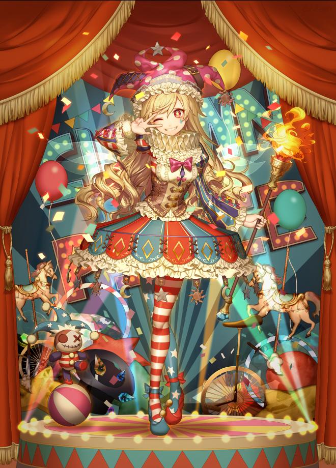 Tags: Anime, Kikugetsu, Touhou, Clownpiece, Star Print, Jester Hat, Flag Print, Ruff Collar, Sun (Symbol), Spotted Headwear, Torch, Facial Tattoo, Tricycle