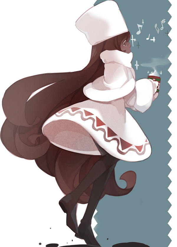 Tags: Anime, Zorim (Artist), Cookie Run, Cocoa Cookie, Steam, Hot Chocolate, Mobile Wallpaper, Pixiv, Fanart From Pixiv, Fanart