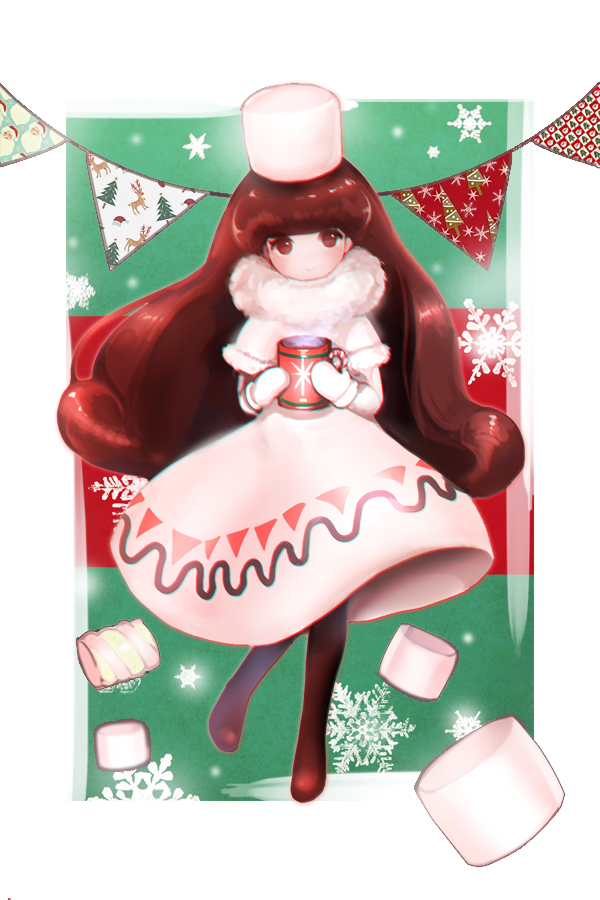 Tags: Anime, Pixiv Id 9892430, Cookie Run, Cocoa Cookie, Banner, Russian Clothes, Ushanka, Marshmallow, Steam, Hot Chocolate, Fanart, Mobile Wallpaper, Fanart From Pixiv