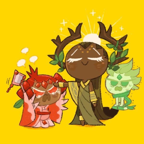 Tags: Anime, Misaki-omoomochiii, Cookie Run: OvenBreak, Cookie Run, Pomegranate Cookie, Wind Archer Cookie, Millennial Tree Cookie, Tumblr, Fanart From Tumblr, Fanart