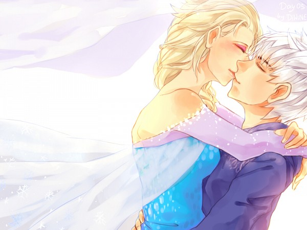 Tags: Anime, Disney, Arms Around Neck, Kiss On The Lips, Pixiv Id 3220982, Dreamworks, Jack Frost