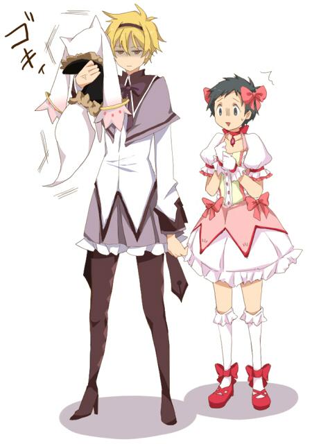 Tags: Anime, Pixiv Id 2795703, DURARARA!!, Mahou Shoujo Madoka☆Magica, Ryuugamine Mikado, Heiwajima Shizuo, Orihara Izaya, Kyubee, Kyubee (Cosplay), Kaname Madoka (Cosplay), Seious, Akemi Homura (Cosplay), Fanart