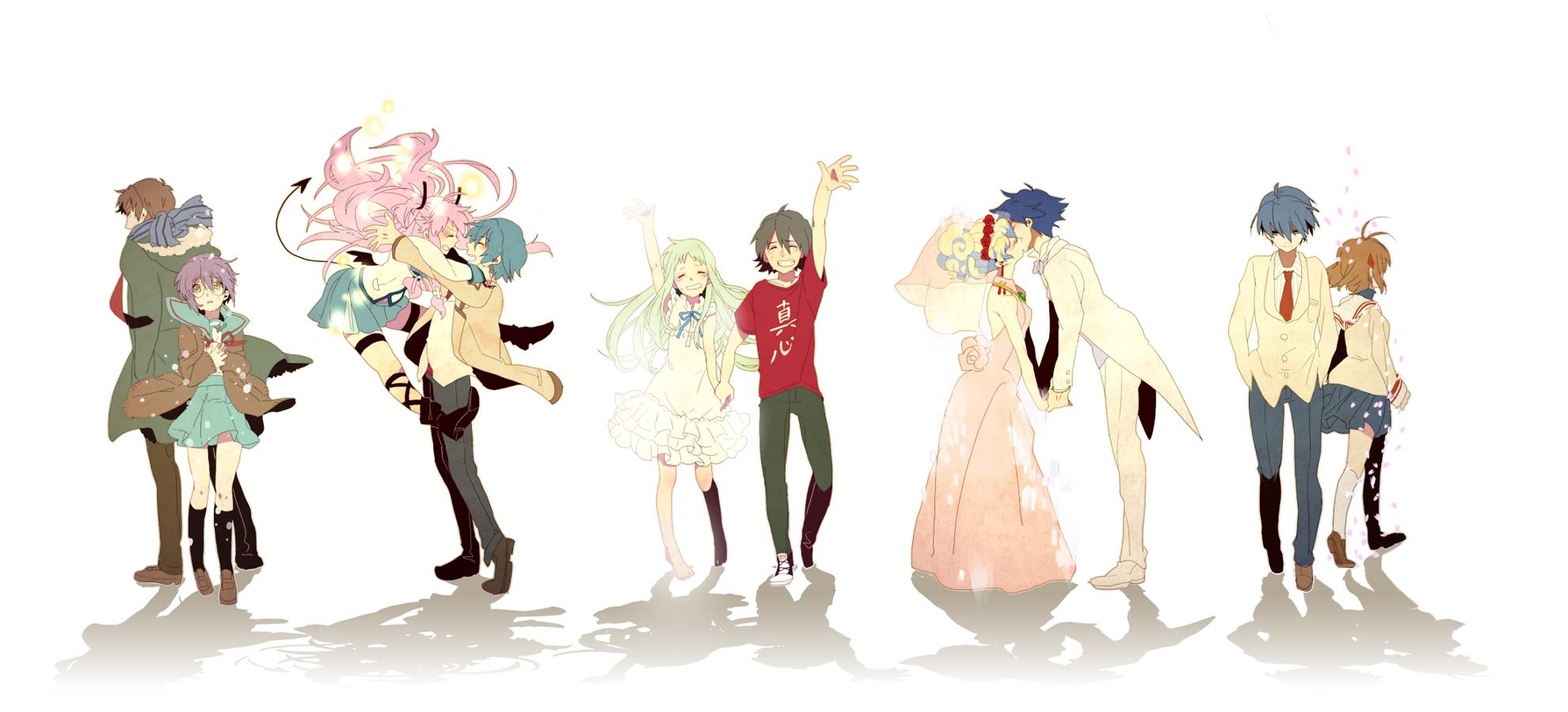 Tags: Fanart, Suzumiya Haruhi no Yuuutsu, CLANNAD, KEY (Studio), Tengen Toppa Gurren-Lagann, Nagato Yuki, Kyon, Furukawa Nagisa, Okazaki Tomoya, Nia Teppelin, Pixiv, Simon (Tengen Toppa Gurren-Lagann), Angel Beats!, Nakamura Yuri, Hinata Hideki, Yui (Angel Beats!), Ano Hi Mita Hana no Namae o Bokutachi wa Mada Shiranai., Honma Meiko, Yadomi Jinta, Takumi (Scya), Facebook Cover