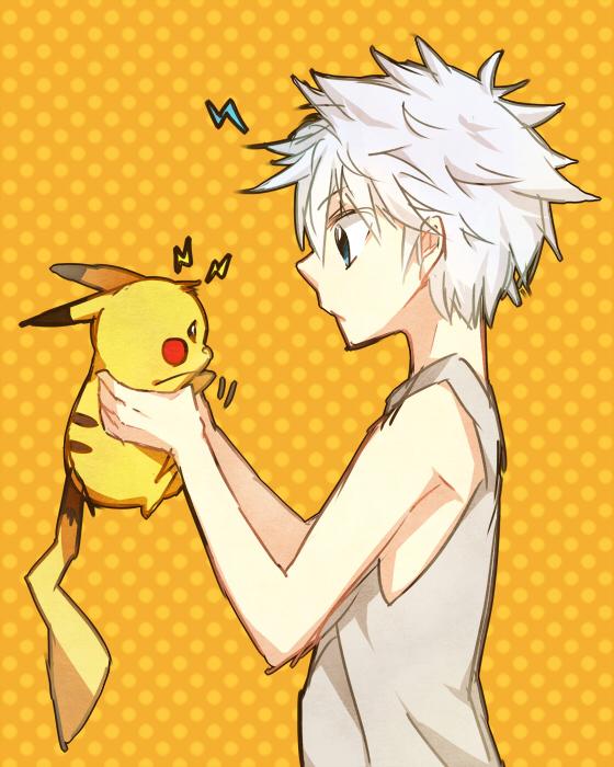 Tags: Anime, Pixiv Id 1551261, Hunter x Hunter, Pokémon, Pikachu, Killua Zoldyck, Fanart, Pixiv, Fanart From Pixiv