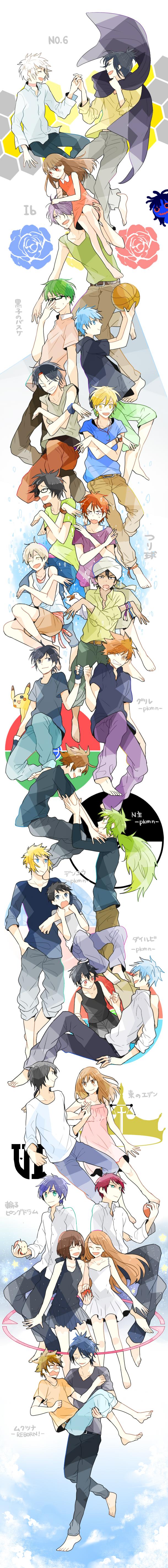 Tags: Anime, Moss (kokeoff), Kuroko no Basuke, Mawaru Penguindrum, No.6, Higashi no Eden, Katekyo Hitman REBORN!, Tsuritama, Ib, Pokémon, Pikachu, Haru (Tsuritama), Yuuki (Pokémon)