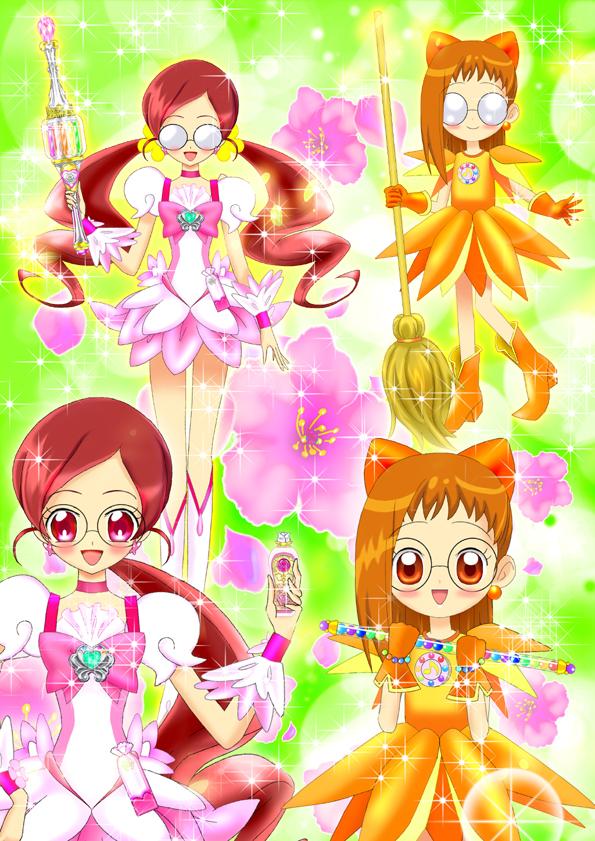 Tags: Anime, Luna Rune, Ojamajo DoReMi, Heartcatch Precure!, Hanasaki Tsubomi, Cure Blossom, Fujiwara Hazuki, Cure Blossom (Cosplay), Fanart, Fanart From Pixiv, Pixiv