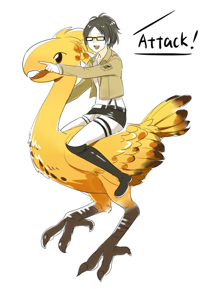 Tags: Anime, Pixiv Id 4012746, Attack on Titan, Chocobo, Hange Zoë, Mobile Wallpaper, Pixiv