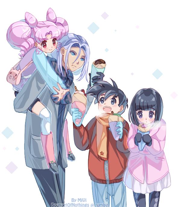 Tags: Anime, Bouquet of Nothings, Bishoujo Senshi Sailor Moon, DRAGON BALL, Chibiusa, Son Gohan, Tomoe Hotaru, Trunks Briefs, Crêpe, Handbag, Fanart, Tumblr
