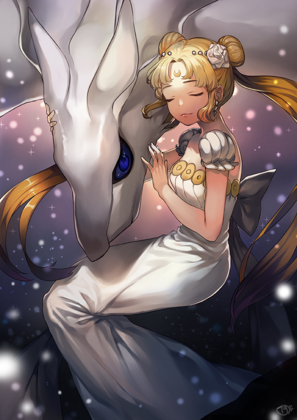 Tags: Anime, Naguri, Bishoujo Senshi Sailor Moon, Pokémon, Princess Serenity, Reshiram, Tsukino Usagi, deviantART, Fanart From Pixiv, Pixiv, Fanart, Legendary Pokémon, Mobile Wallpaper