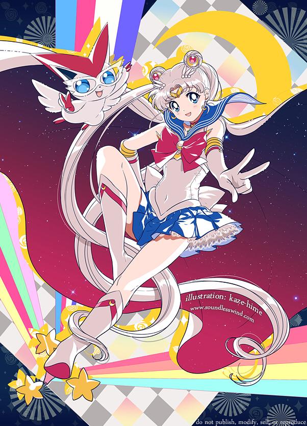 Tags: Anime, Kaze-hime, Bishoujo Senshi Sailor Moon, Pokémon, Sailor Moon (Character), Victini, Tsukino Usagi, Domino Mask, Fanart, Legendary Pokémon, Mobile Wallpaper, deviantART, Fanart From DeviantART