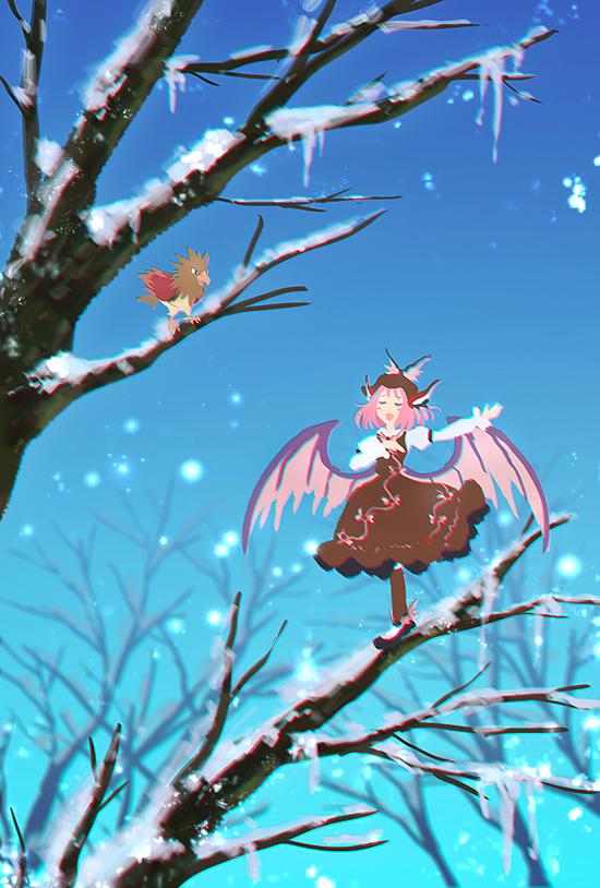 Tags: Anime, Nin (Female), Pokémon, Touhou, Spearow, Mystia Lorelei, Brown Legwear, Brown Skirt, Brown Headwear, Brown Hat, Fanart, Twitter, Mobile Wallpaper