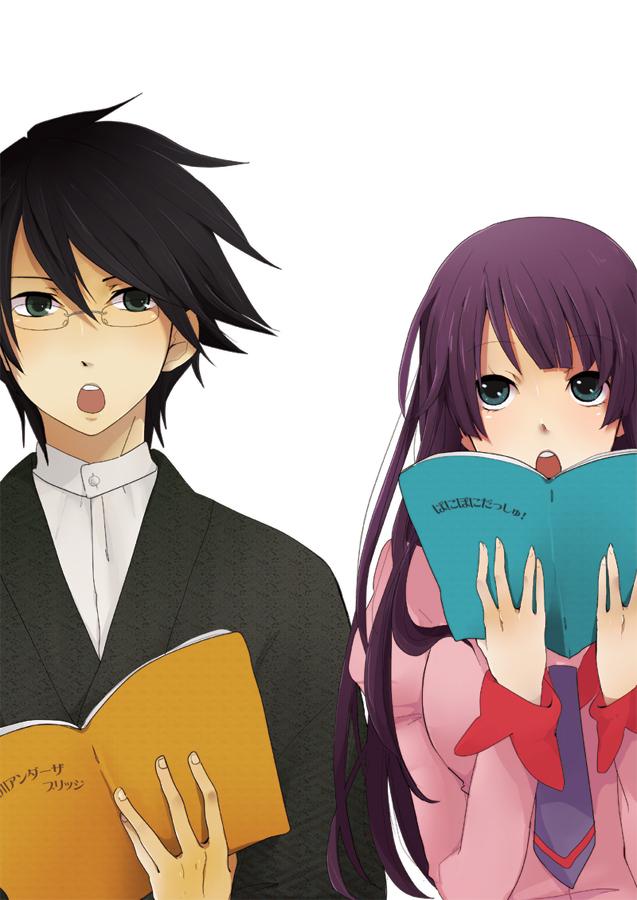 Tags: Anime, Tomo, Monogatari, Sayonara Zetsubou Sensei, Itoshiki Nozomu, Senjougahara Hitagi, Fanart, Mobile Wallpaper, Pixiv
