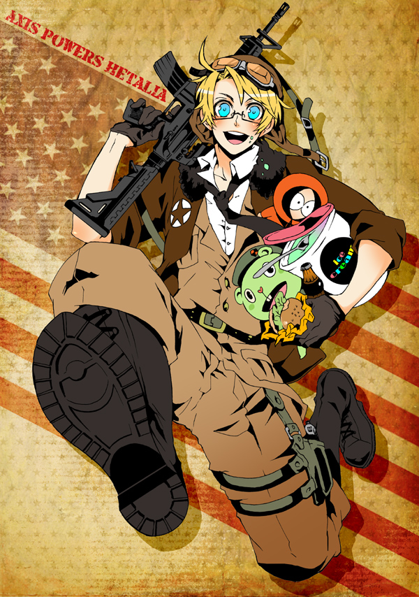 Tags: Anime, South Park, Axis Powers: Hetalia, Happy Tree Friends, Kenneth McCormick, United States, Flippy, Flag Background, Assault Rifle, Mobile Wallpaper