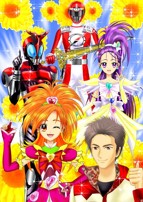 Tags: Anime, Luna Rune, Power Rangers, Kamen Rider Kabuto, GoGo Sentai Boukenger, Futari wa Precure Splash Star, Mishou Mai, Kamen Rider Kabuto (Character), Cure Bloom, Cure Egret, Hyuuga Saki, Company Connection, Fanart