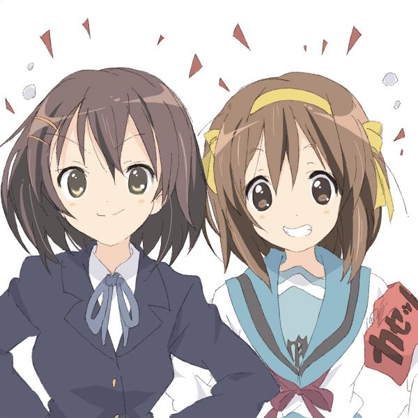 Tags: Anime, Core (Artist), K-ON!, Suzumiya Haruhi no Yuuutsu, Suzumiya Haruhi, Hirasawa Yui, Company Connection