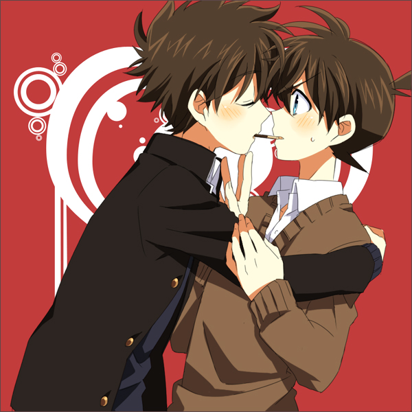 Tags: Anime, Minagawa, Meitantei Conan, Magic Kaito, Kuroba Kaito, Kudou Shinichi, Pocky Game, Fanart
