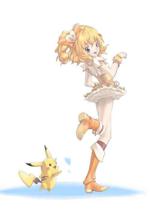 Tags: Anime, Pixiv Id 391286, Fresh Precure!, Pokémon, Cure Pine, Yamabuki Inori, Pikachu, Fanart From Pixiv, Pixiv, Fanart