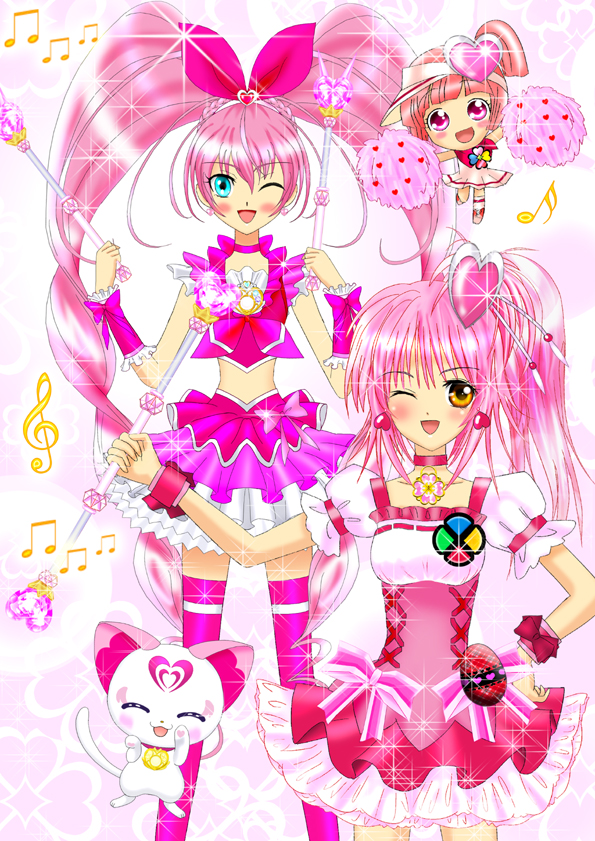 Tags: Anime, Luna Rune, Suite Precure♪, Shugo Chara!, Fresh Precure!, Ran (Shugo Chara!), Hinamori Amu, Hummy, Hojo Hibiki, Cure Melody, Cure Peach (Cosplay), Fanart From Pixiv, Pixiv
