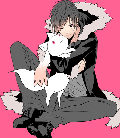 Tags: Anime, Roa Huduki, DURARARA!!, Mahou Shoujo Madoka☆Magica, Kyubee, Orihara Izaya, Hugging Animal, Fanart