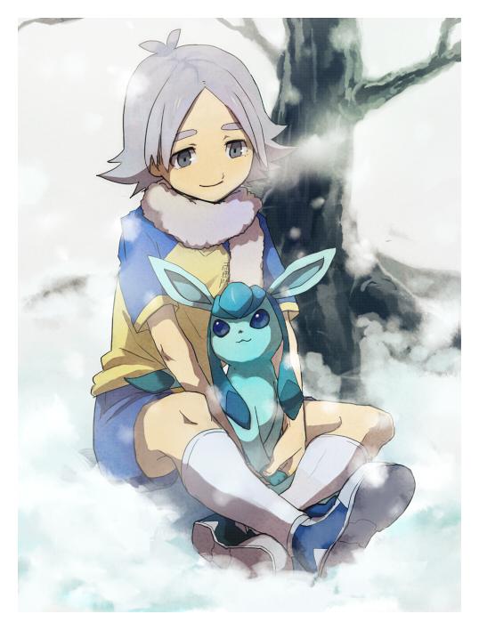 Tags: Anime, Pixiv Id 2755258, Inazuma Eleven, Pokémon, Glaceon, Fubuki Shirou, Under A Tree, Pixiv, Fanart From Pixiv, Fanart