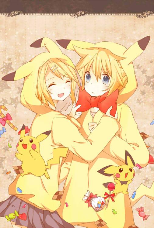 Tags: Anime, Pixiv Id 1170653, VOCALOID, Pokémon, Kagamine Len, Kagamine Rin, Pikachu, Pichu, Pikachu (Cosplay), Pokémon (Cosplay), Mobile Wallpaper, Pixiv, Fanart