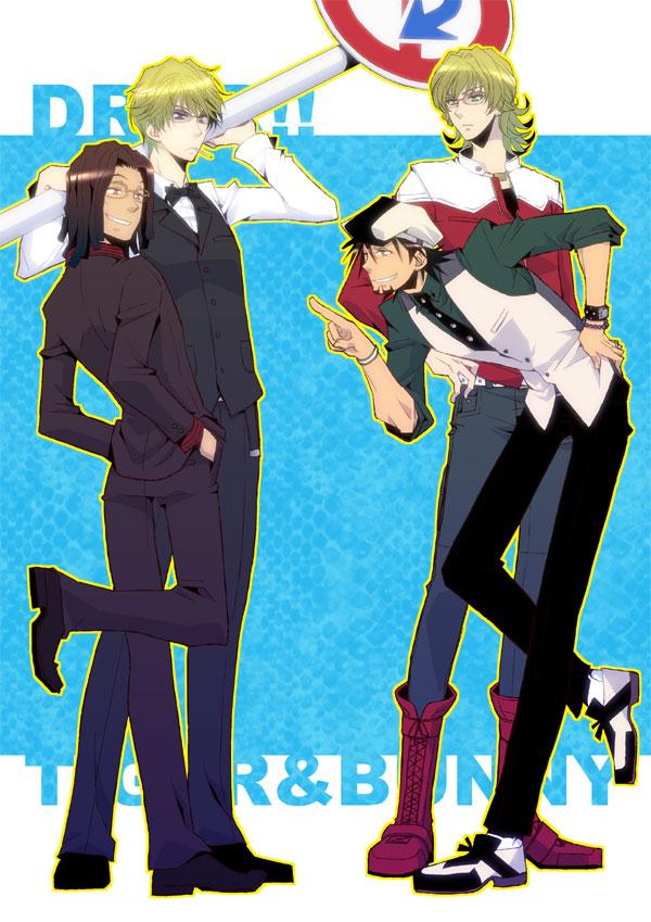 Tags: Anime, Pixiv Id 480741, TIGER & BUNNY, DURARARA!!, Tanaka Tom, Heiwajima Shizuo, Kaburagi T. Kotetsu, Barnaby Brooks Jr., Fanart, Mobile Wallpaper, Pixiv
