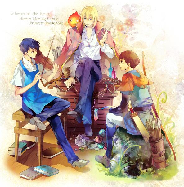 Tags: Anime, Futaba Hazuki, Howl no Ugoku Shiro, Mononoke Hime, Mimi wo Sumaseba (Ghibli), Howl, Amasawa Seiji, Prince Ashitaka, Company Connection, Fanart, Pixiv