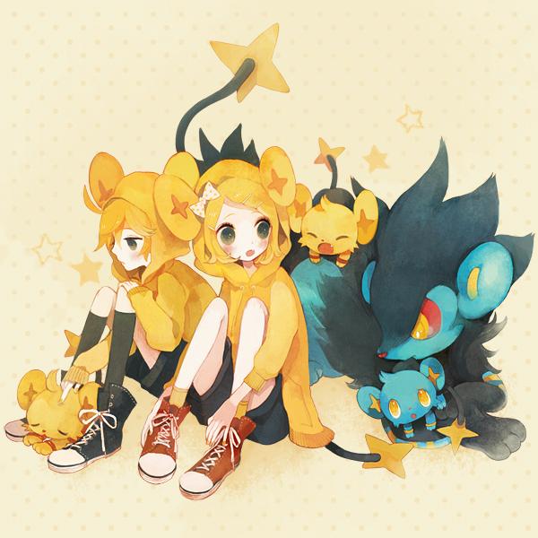 Tags: Anime, Pechika, VOCALOID, Pokémon, Shinx, Kagamine Rin, Luxray, Kagamine Len, Fanart From Pixiv, Pixiv, Fanart, Kagamine Mirrors