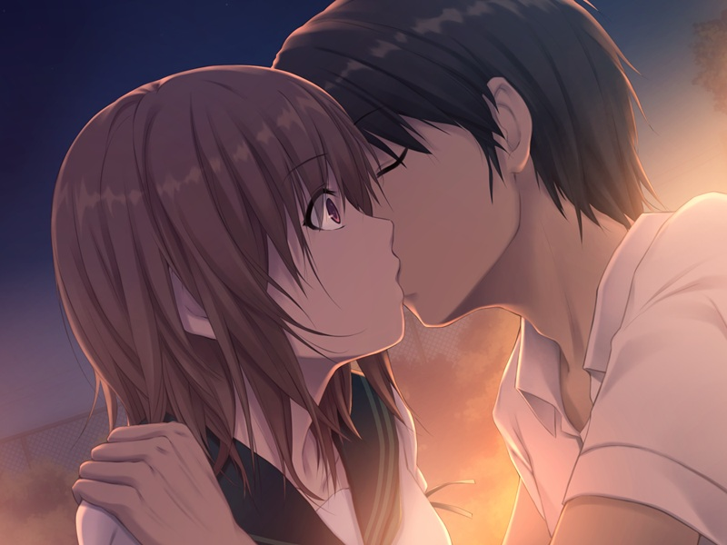 Целуются картинки аниме