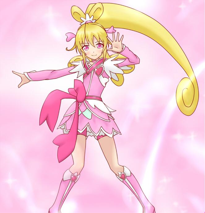 Tags: Anime, Pixiv Id 709631, Dokidoki! Precure, Aida Mana, Cure Heart, Heart Hair Ornament, Pink Shorts, Fanart From Pixiv, Pixiv, Fanart