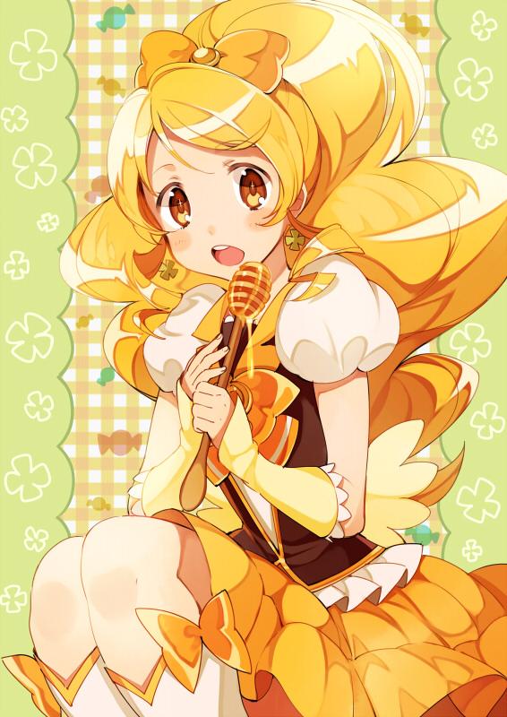 Tags: Anime, Hano, HappinessCharge Precure!, Oumori Yuuko, Cure Honey, Orange Bow, Honey, Puffy Skirt, Yellow Skirt, Pixiv, Fanart From Pixiv, Fanart, Mobile Wallpaper