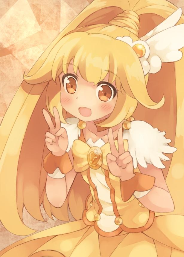 Tags: Anime, Kouno Hikaru, Smile Precure!, Cure Peace, Kise Yayoi, Yellow Skirt, Pixiv, Fanart, Fanart From Pixiv