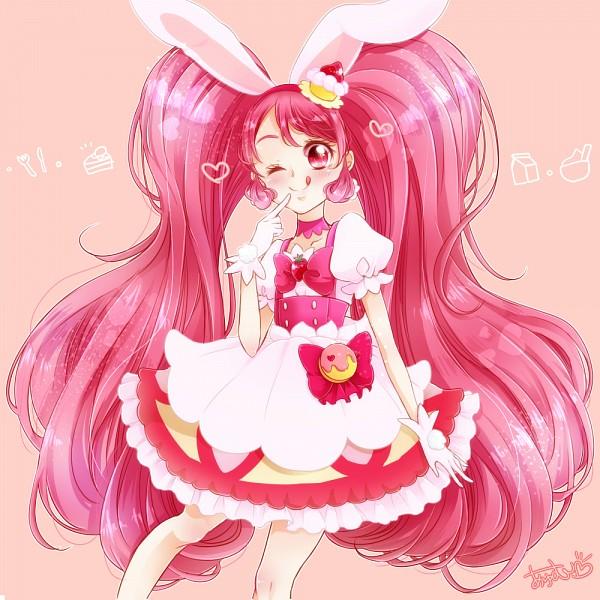 Tags: Anime, Pixiv Id 775691, Kirakira☆Precure a la Mode, Usami Ichika, Cure Whip, Pink Bow, Licking Lips