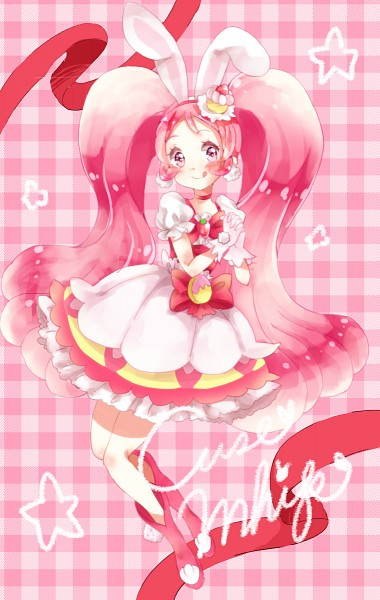 Tags: Anime, Pixiv Id 15691129, Kirakira☆Precure a la Mode, Usami Ichika, Cure Whip, Red Ribbon, Licking Lips
