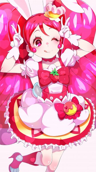 Tags: Anime, Yubiteru, Kirakira☆Precure a la Mode, Cure Whip, Usami Ichika, Pink Bow, Leg Up