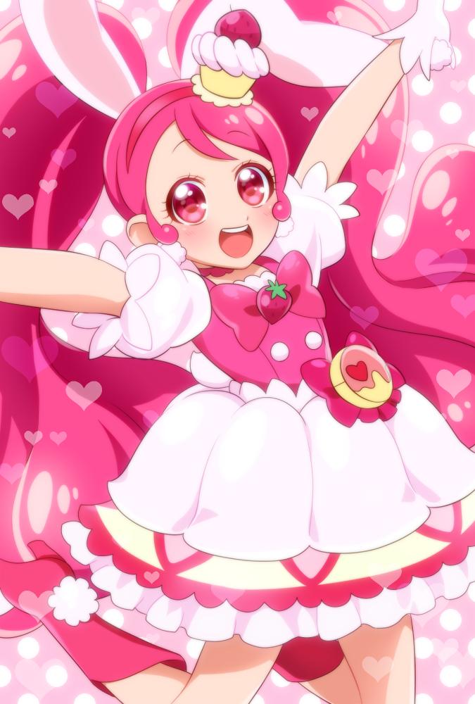 Tags: Anime, 0417nao, Kirakira☆Precure a la Mode, Usami Ichika, Cure Whip, Pink Bow, Arms Up