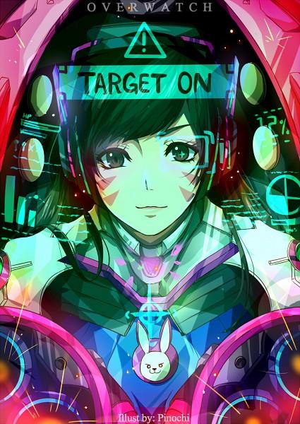 Tags: Anime, Pinochi, Overwatch, D.Va, Side Bangs, Pink Gem, Bust