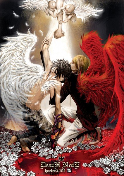 Tags: Anime, Hoelex, DEATH NOTE, Yagami Raito, L Lawliet, White Flower, Hand On Arm